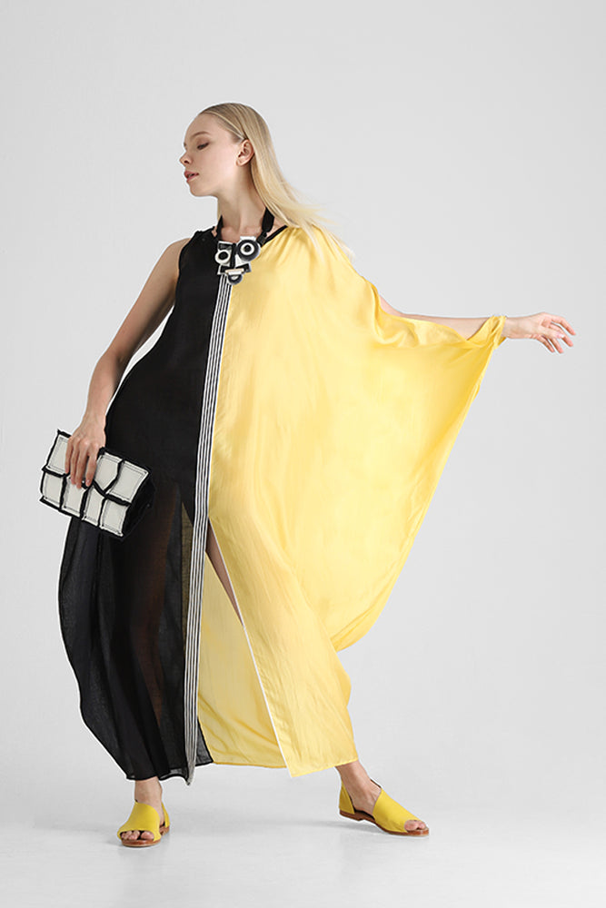 Long dual fabric and dual tone kaftan with asymmetrical sleeves