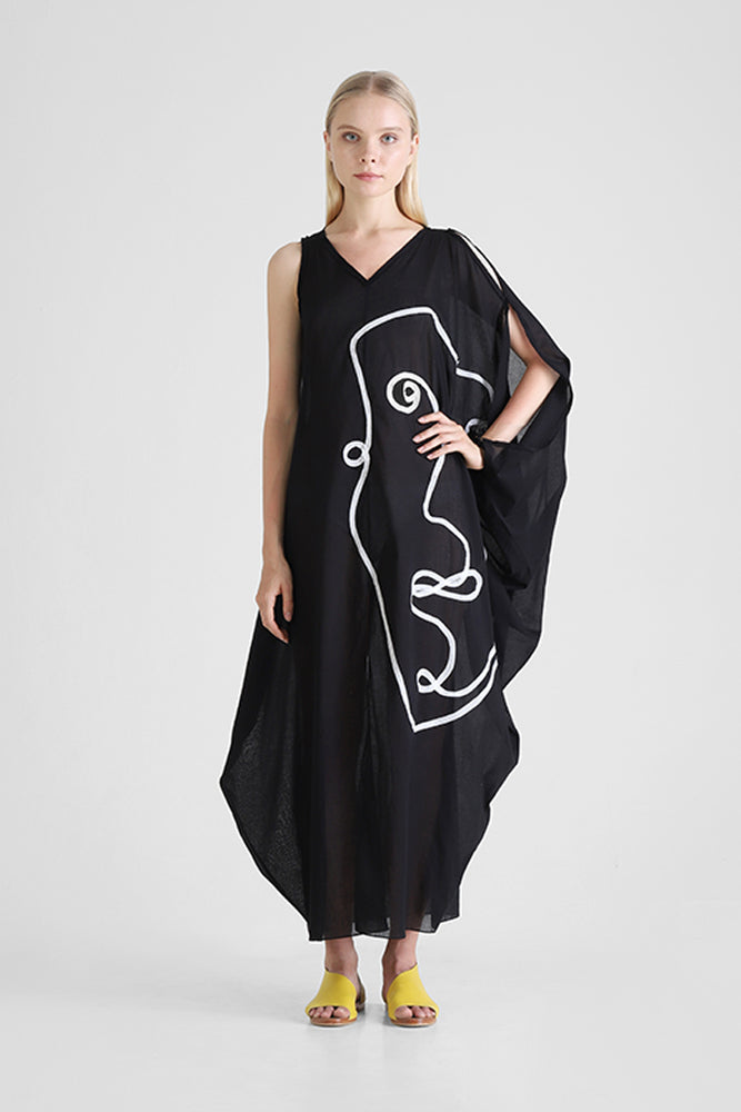 Load image into Gallery viewer, Kaftan with abstract face appliqué and asymmetrical sleeves
