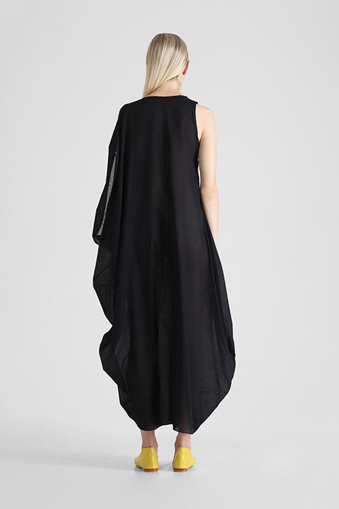Hilja - Kaftan with abstract figure and asymmetrical sleeve