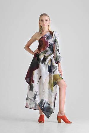 Load image into Gallery viewer, One shoulder dress with asymmetrical hemline and abstract floral print
