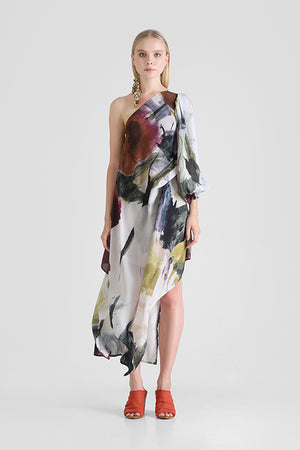 One shoulder dress with asymmetrical hemline and abstract floral print