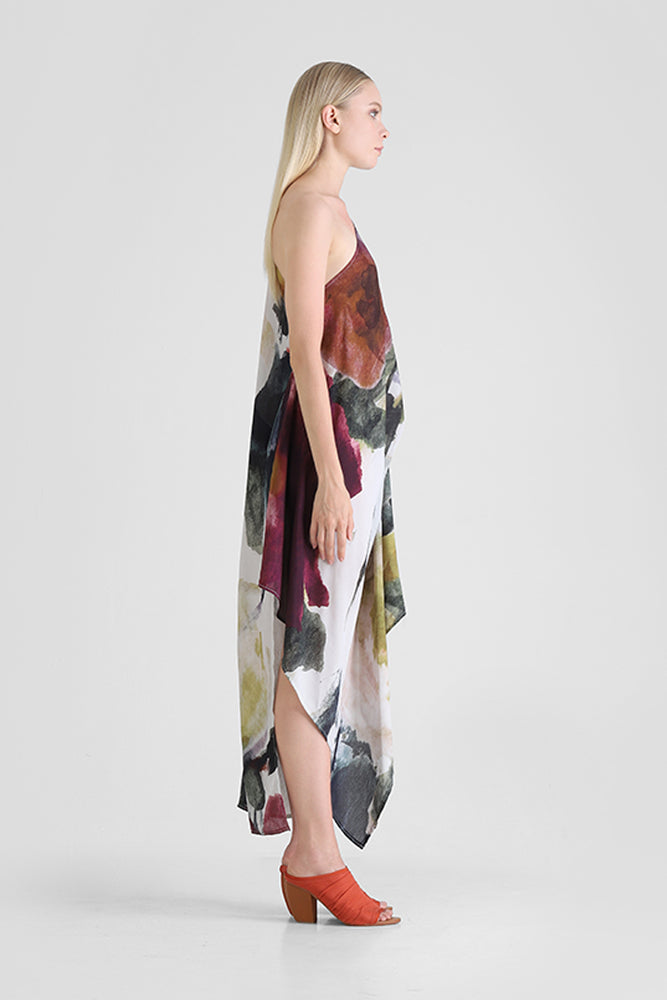 Load image into Gallery viewer, Hazel - One shoulder dress with asymmetrical hemline and abstract floral print