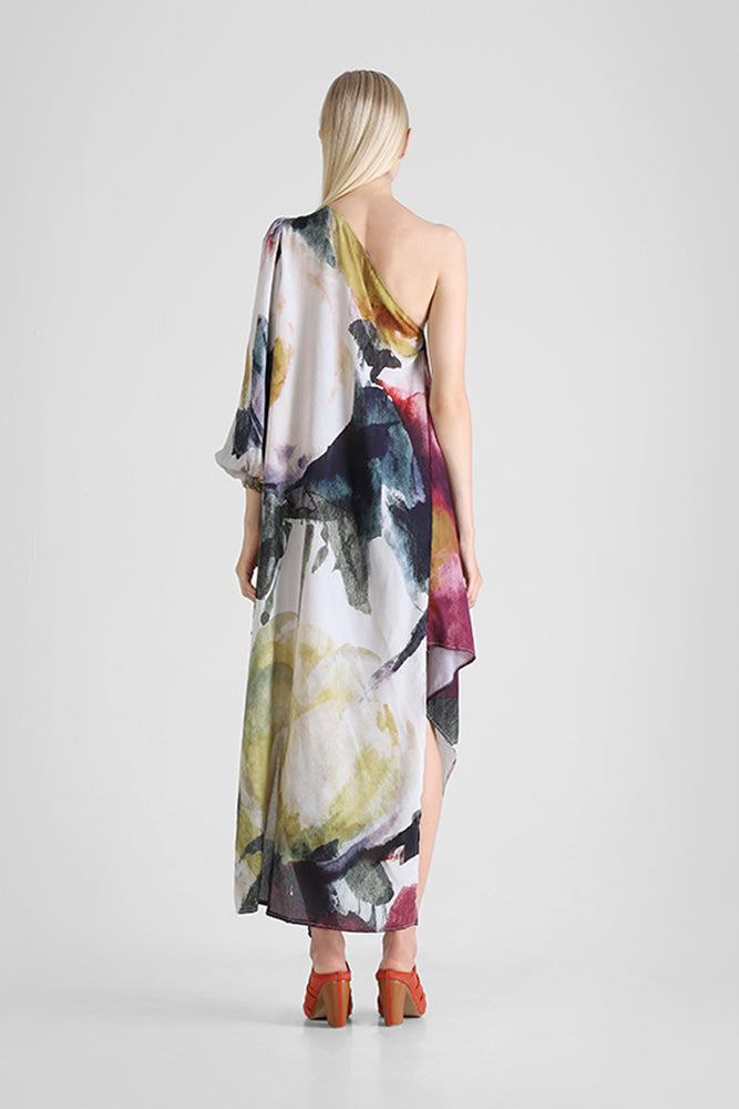 Hazel - One shoulder dress with asymmetrical hemline and abstract floral print