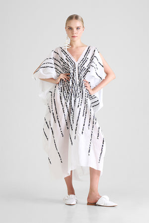 White Kaftan with contrast hand cut stripe appliqué