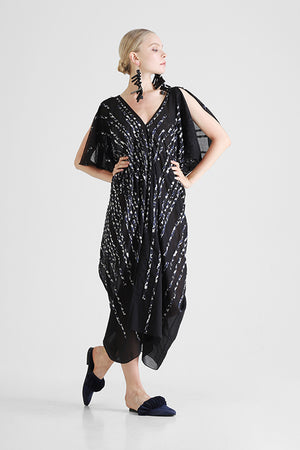 Load image into Gallery viewer, Black Kaftan with contrast hand cut stripe appliqué