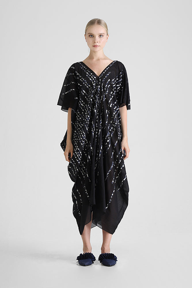 Black Kaftan with contrast hand cut stripe appliqué