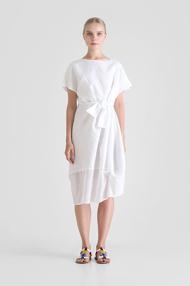 White T-shirt dress with waist knot