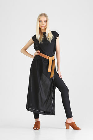 Box cut long black dress with capped sleeves and high side slits