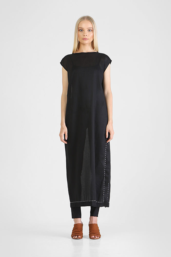 Load image into Gallery viewer, Box cut long black dress with capped sleeves and high side slits