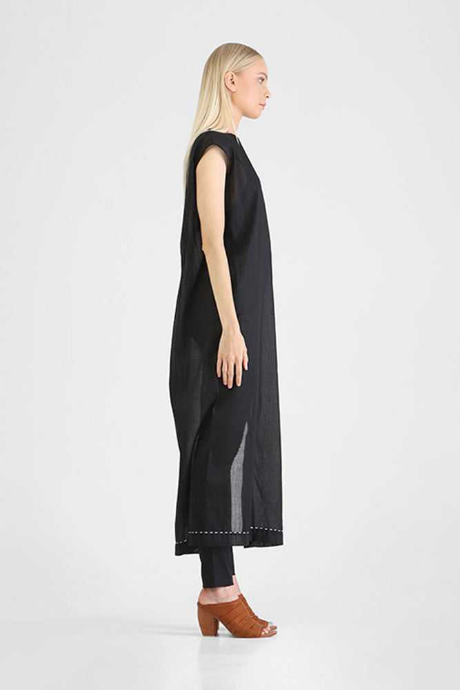 Hinata - Capped sleeve long dress with high side slits
