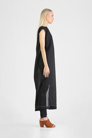 Load image into Gallery viewer, Hinata - Capped sleeve long dress with high side slits