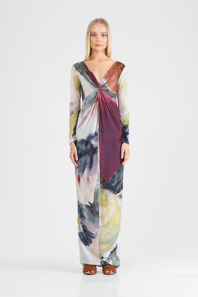 Inslee - Abstract floral print long dress