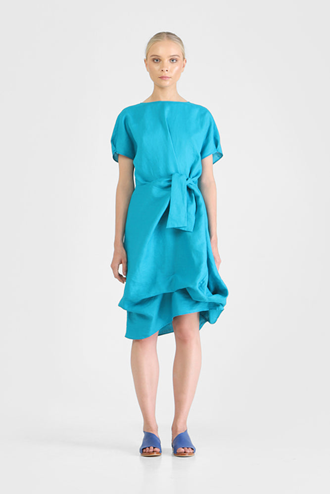 Blue T-shirt dress with waist knot