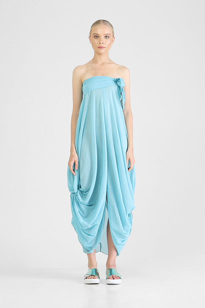 Strapless blue cotton dress with waterfall drapery