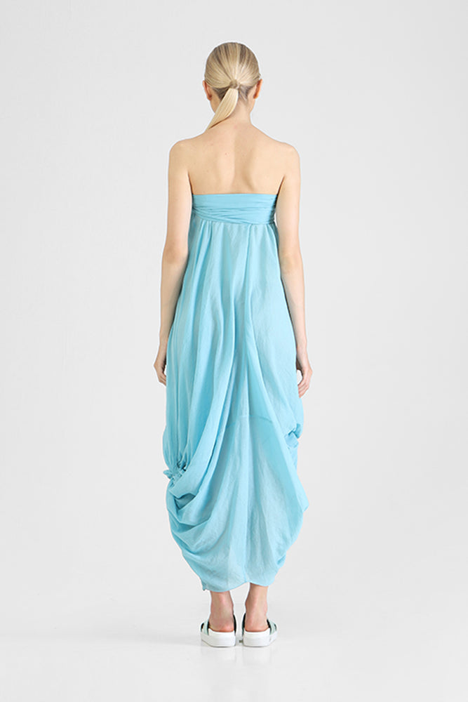 Load image into Gallery viewer, Havana - Strapless dress with waterfall drapery