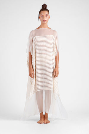 Load image into Gallery viewer, sheer off-white kaftan with handmade appliqué stripes