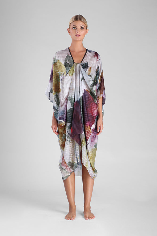 Oversized tunic in abstract floral digital print