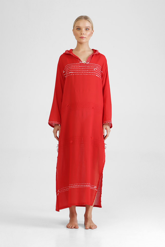 Igli - Hooded kaftan with stitch detailing