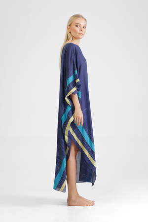 Load image into Gallery viewer, Hartlyn - Asymmetrical kaftan with appliqué border