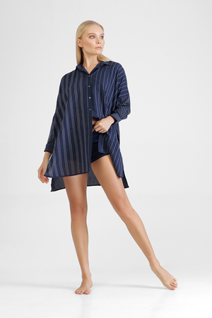 Erinn - Oversized long sleeve t-shirt with irregular striped stitching