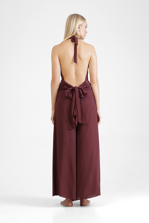 Load image into Gallery viewer, Hanly - Halter neck mosscrepe jumpsuit
