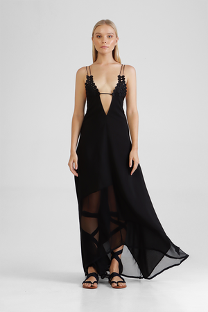Florrie - Long dress with plunging v-neck