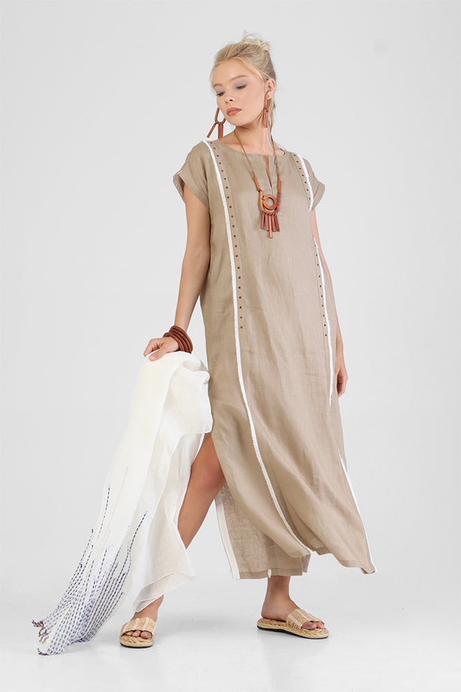 Halee - Split collar kaftan with fringe detailing