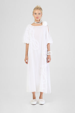 Long wide necked kaftan with slitted balloon sleeves and hand made appliqué swirl detailing
