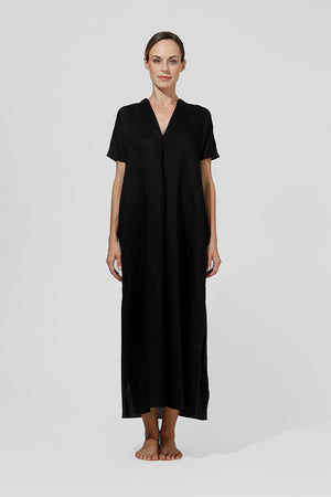 Load image into Gallery viewer, Maejo - Long kaftan with v-neck