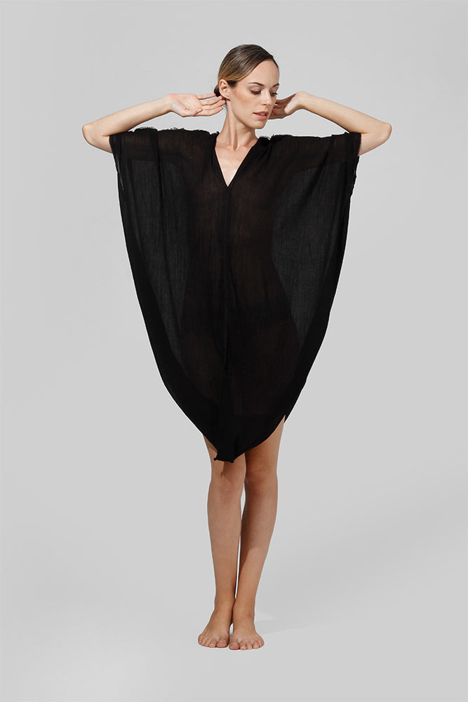 Triangle shaped mid length kaftan with v-neck