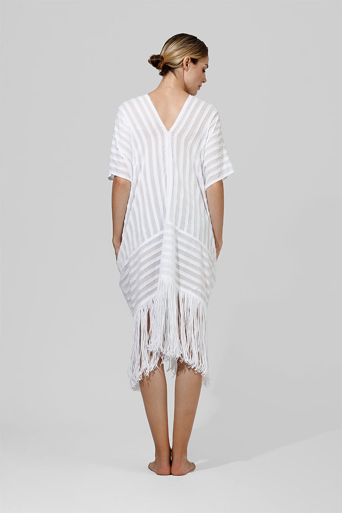 Tania - Raw fringe kaftan with  graphic appliqué detailing