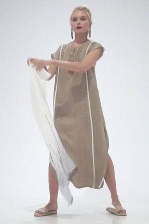 Load and play video in Gallery viewer, Halee - Split collar kaftan with fringe detailing