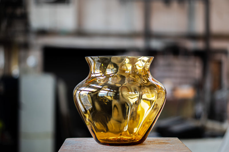 Glass Vase in Amber Colour