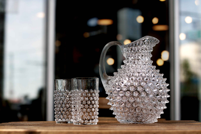Crystal Hobnail Tumbler with matching Jug