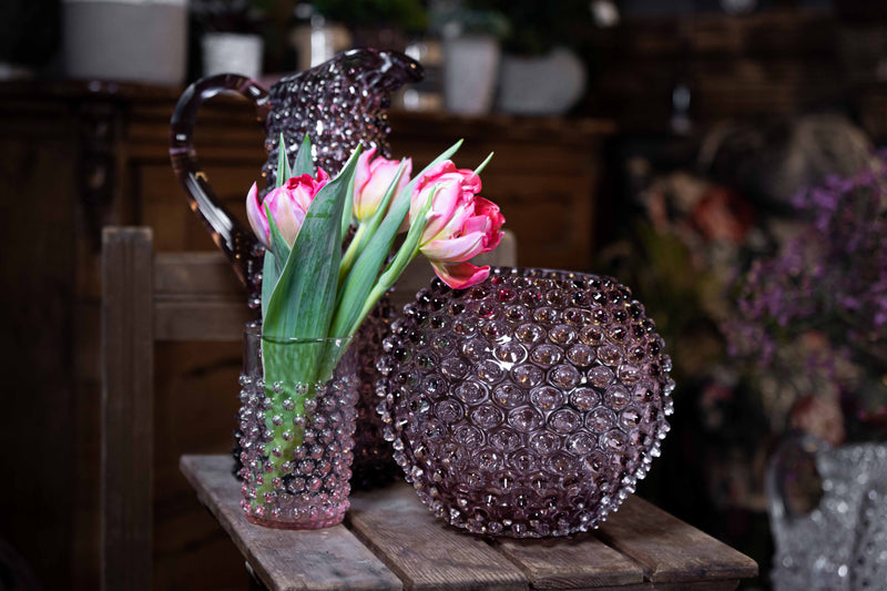 Underlay Violet Hobnail Round Vase with the matching tall jug and a tumbler with tulips