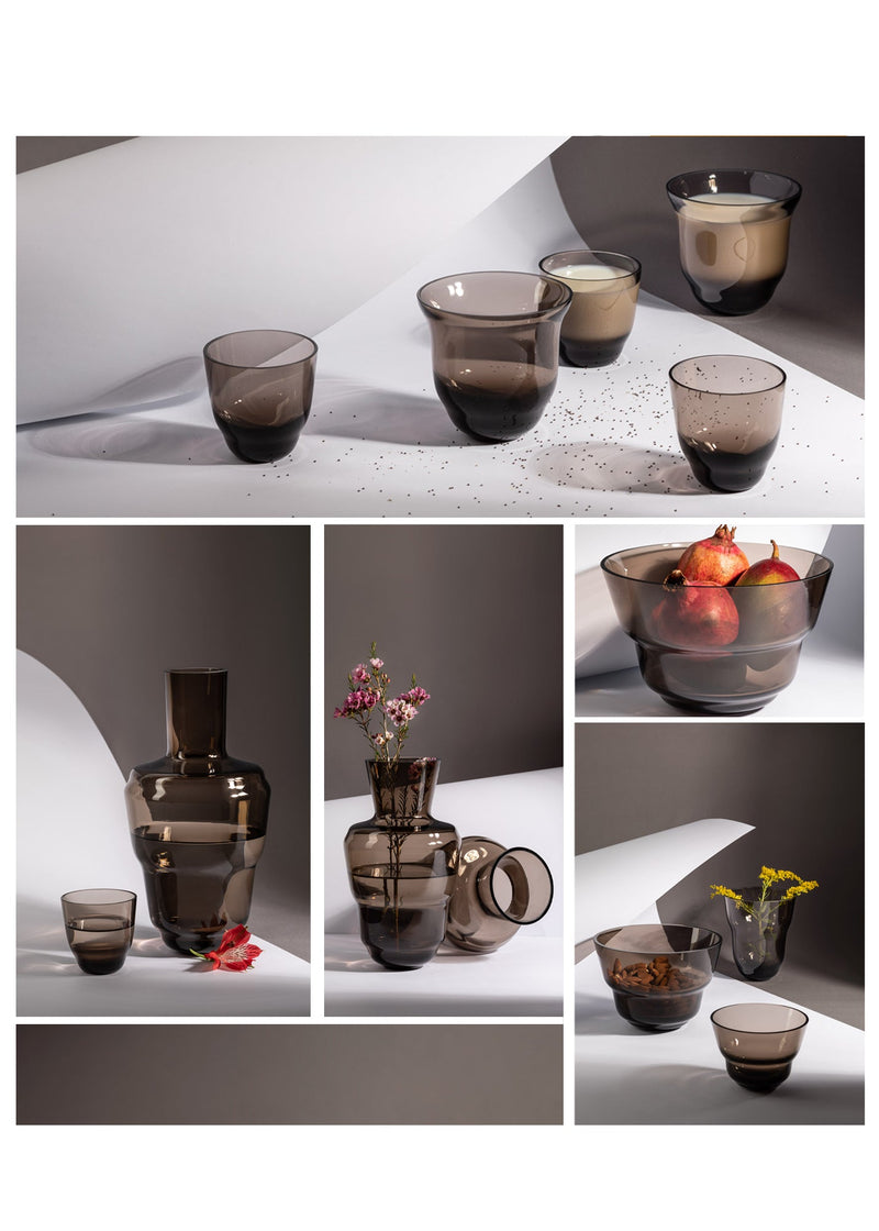Photo collage with Midnight Grey glassware from Shadows collection