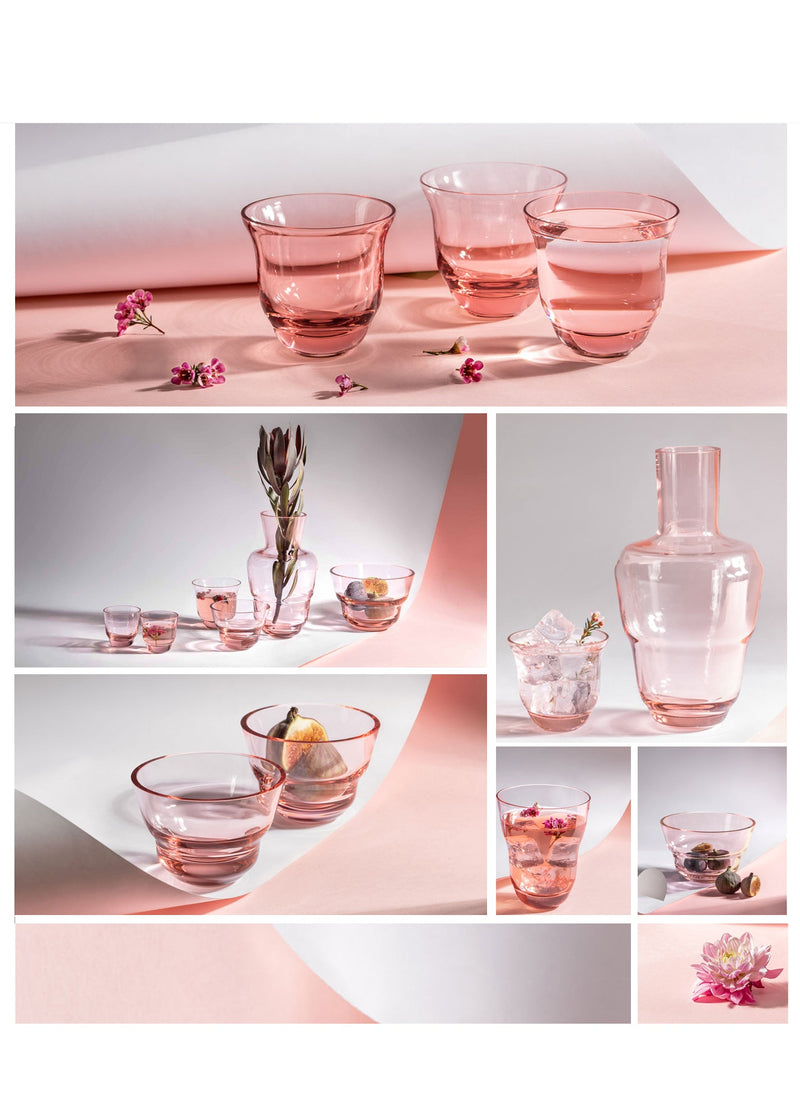 Collage of Glassware in Suede pink from Shadows collection