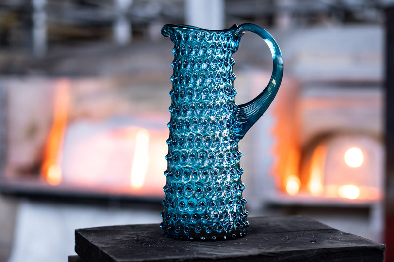 Aquamarine Hobnail Glass Jug in Glass factory