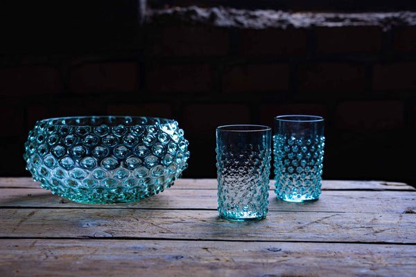Glass Beryl Hobnail Bowl with two Beryl Glasses on the wood in the Attic
