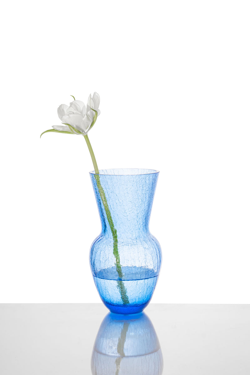 Blue Glass felicity Vase with white Flower in it