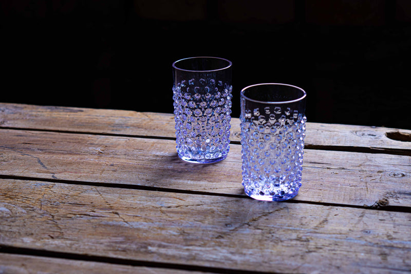 Lilac Hobnail Tumblers on a wooden floor