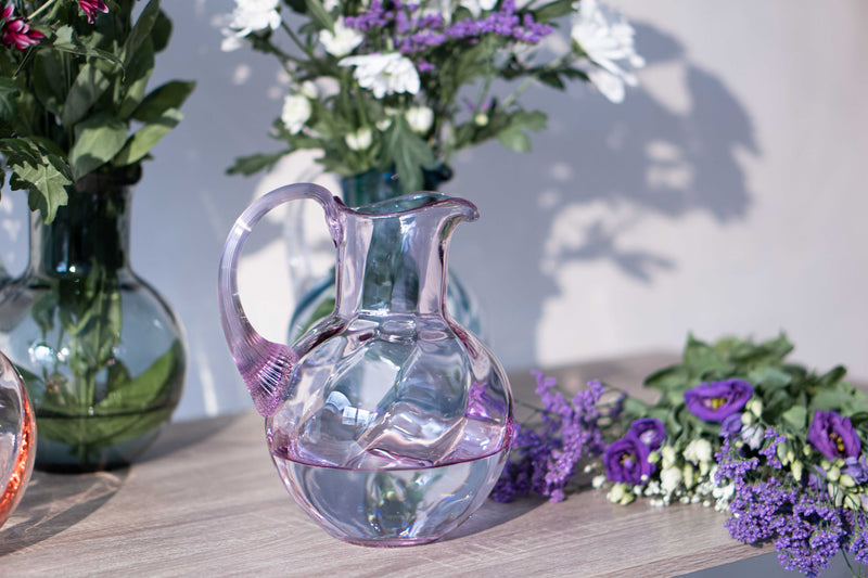 Lilac Marika Jug with flowers behind