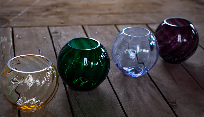 Glass Vases in Yellow, Green, Violet and Alexandrite on the Wood in Glass Factory