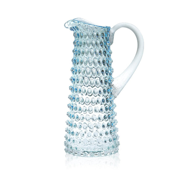 Glass Underlay Azure Hobnail Pitcher