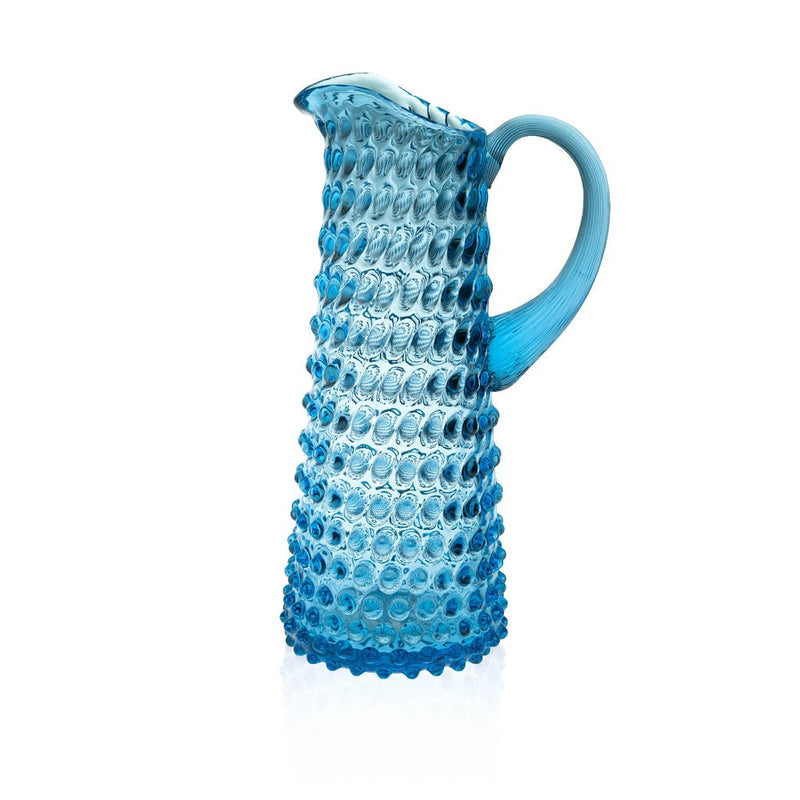 Glass Azure Jug in Hobnail decor