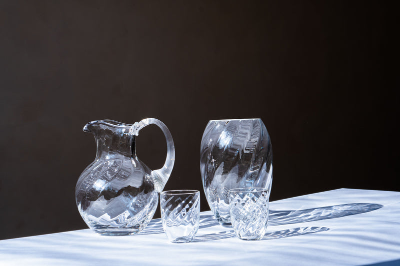 Matching Marika Glassware standing on a white table