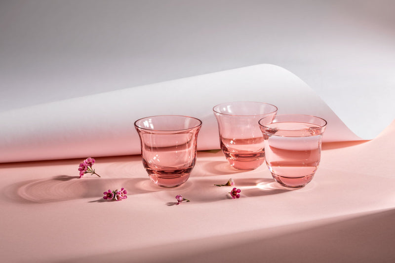 Suede Pink Drinking Glasses on a pink-white background