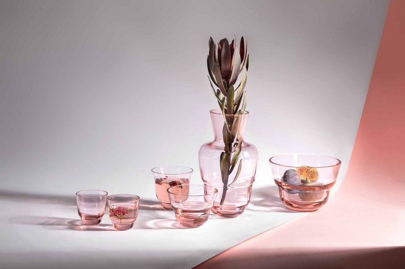 Suede Pink glassware from Shadows collection by KLIMCHI