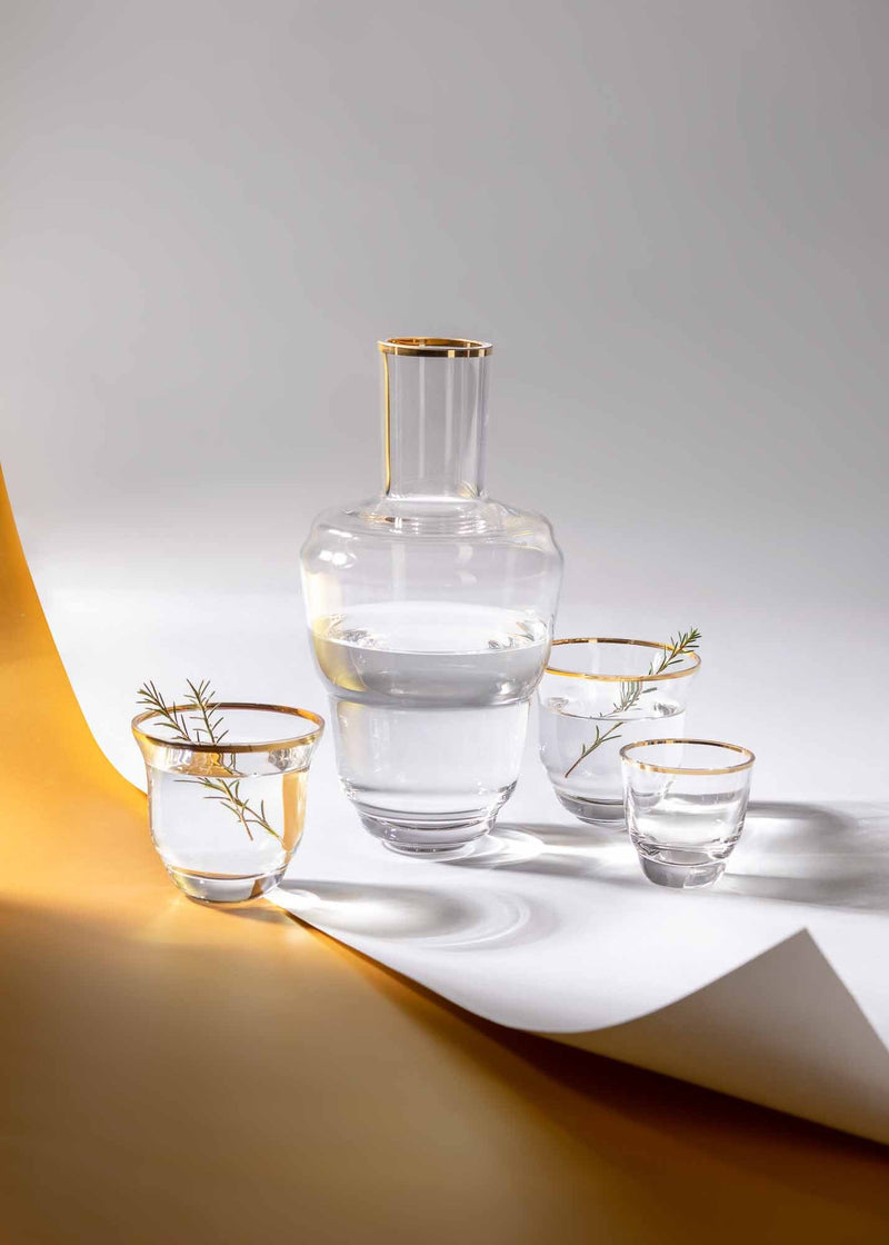 Combo of Golden Lux Carafe and matching glasses