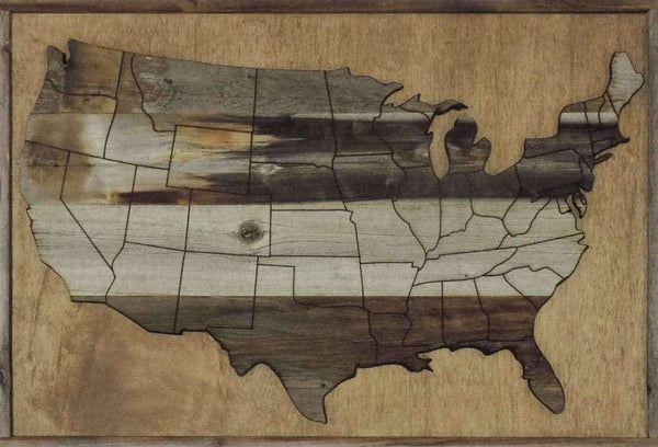 Large 37 X 25 Reclaimed Wood Art Wooden USA Map - Picture Frame - Shop - Rustic